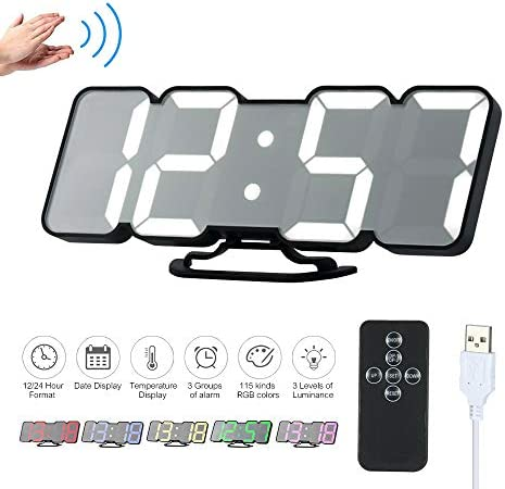 Decdeal Alarm Clock 3D Wireless Remote Digital RGB LED Clock USB Powered Time Temperature Date Display 115-Color Changing 3-Level Brightness Sound Control Wall Desktop Clock
