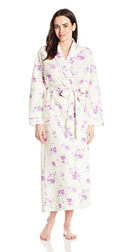 (Carole Hochman Women's Diamond Quilt Floral Long Robe, Pansy, Small)