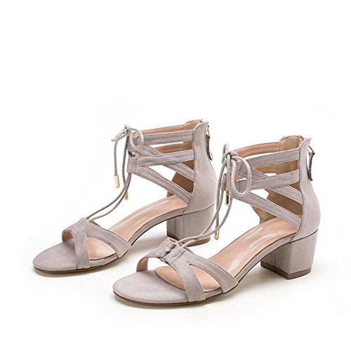PUMPS Sandale,Woman Sweet Shoes,Koreanische Version der Groben Ferse mit Tau Toe Shoes-A Fußlänge=22.8CM(9Inch)
