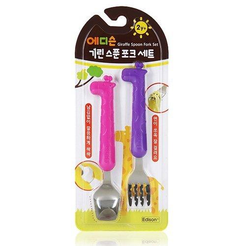 好きに Edison (Pink/Purple) Giraffe Grasp Spoon B00FEC5D8I and Folk Set/NonToxic Silicon Easy to Grasp Green/blue (Pink/Purple) by Edison B00FEC5D8I, バンビーニオンラインショップ:a16bf265 --- arianechie.dominiotemporario.com