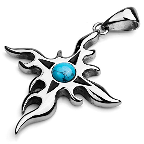 INBLUE Men's Stainless Steel Pendant Necklace Simulated Turquoise Silver Tone Blue Sun Totem Cross -With 23 Inch Chain