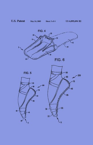 Framable Patent Art the Original Ready to Frame Décor Ballet Slipper Dance Shoe Footwear 24in by 36in Patent Art Poster Print Light PAPMSP49LV, Violet (Patent Violet Footwear)