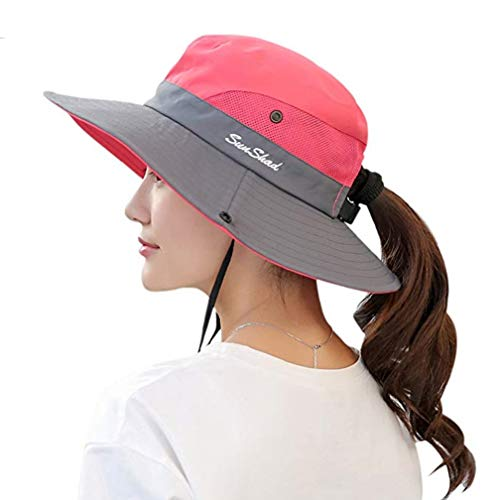 Duakrs Premium Outdoor UPF 50+ Wide Brim Sun Hat Waterproof UV Protection Bucket Mesh Boonie Hat Adjustable Fishing Cap for Men Women and Children (Watermelon Red - 1)