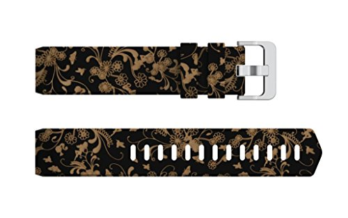 Brown Floral Band - for Fitbit Charge 2 Wrist Watch,Silicone Replacement Print Floral Wristband Wrist Strap (F)