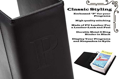 Broadway Play Program and Theater Playbill Binder with 30 Custom Sheet Protectors - PU Leather - Fits Playbills from Mid 1980s to Modern (Black EmbossedP) by 2Fold Supply (Image #3)