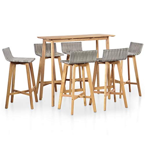 Festnight 7 Piece Bar Table Set Counter Height Dining Table with 6 Stool Acacia Wood Pub Set for Breakfast Bistro Kitchen Dining Room Indoor Outdoor Furniture