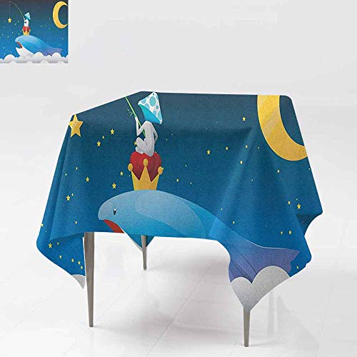 DUCKIL Stain-Resistant Tablecloth King Whale on Top of Night Clouds with Stars and Moon with Child Sitting on Print Soft and Smooth Surface W70 xL70 Multi Colored