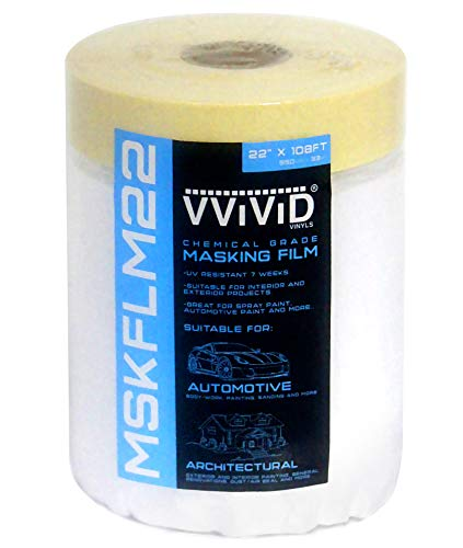 VViViD Chemical Grade Heavy-Duty Self-Adhesive Tape and Drape Masking Film Plastic Drop Cloth 22 Inches x 108 Feet Roll ()