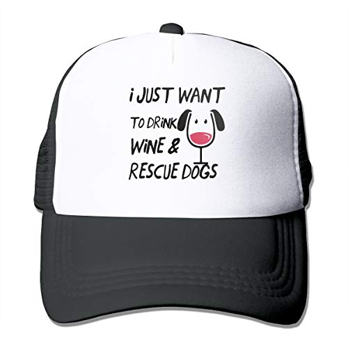 - Drink Wine Rescue Dogs Man's Woman's Adult Adjustable Grid Hat Breathable Fishing