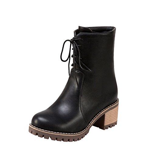 YE Damen Chunky Heels Ankle Boots Stiefeletten mit Schnürung und Reißverschluss Blockabsatz 6cm Modern Bequem Schuhe Schwarz