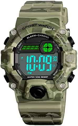 Venhoo Digital Kids Watches Outdoor Sport Waterproof Electronic EL-Light with Alarm Stopwatch Luminous Casual Military Wrist Watch Gift for Kids Boys Girls