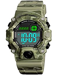 Digital Kids Watches Outdoor Sport Waterproof Electronic EL-Light with Alarm Stopwatch Luminous Casual Military Wrist Watch Gift for Kids Boys Girls