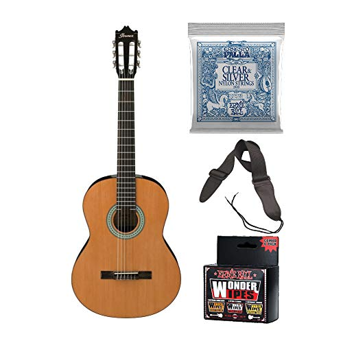Ibanez GA3 6 String Classical Guitar with Extra Strings, Cleaning Wipes and Guitar Strap Bundle