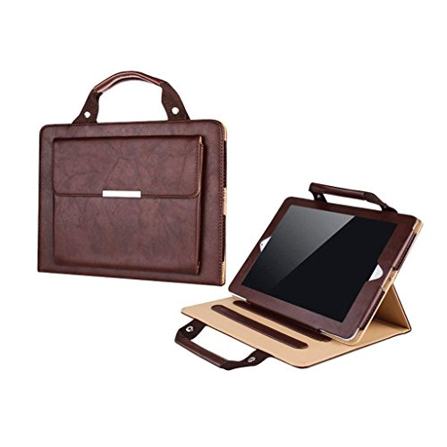 iPad Air 2 Case Business Handbag,Businda Protective Folio Slim Standing Feature with Handle Pocket Carrying Case for Tablet iPad Air 2,Brown