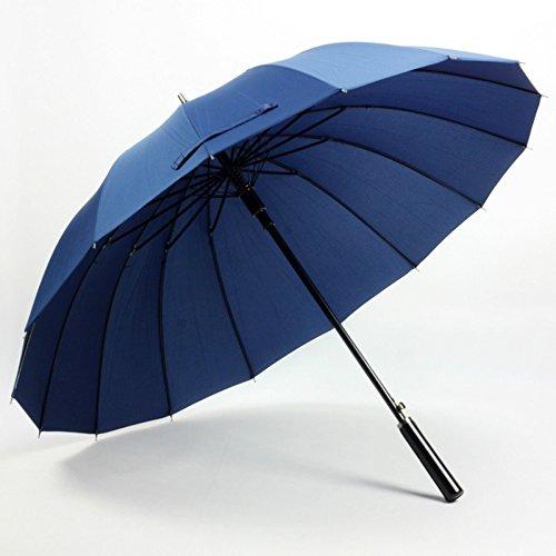 Dark Blue Women'S Mens Windproof Retro Business Sun Rain Long Umbrella by Fashion Hat
