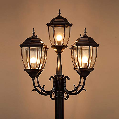 - Pumnple 2.5M Antique Retro Street Light Outdoor IP65 Waterproof Aluminum Die-cast Garden Glass Lantern Lawn Table Lamp E27 Landscape Villa Residential Pathway High Pole Post Lamp 5-Light