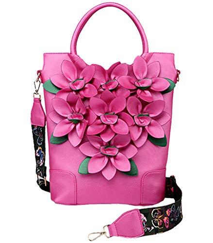 Rose L'usure Élégant Poignée Main Sac Grand Bourse Supérieure À Femme Résistant Rouge 3d Fleur Bandoulière Rides Pu Yan Show Sw4qxz7T