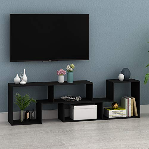 DEVAISE TV Stand, Modern Entertainment Center Media Stand, Versatile Bookcase, 0.59 Thk, Black