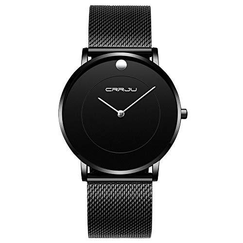CRRJU Men Business Slim Analog Quartz Watch,Date Black Dial Wrist Watch with Mesh Bracelet Strap (A Black) - Japan Black Dial Watch