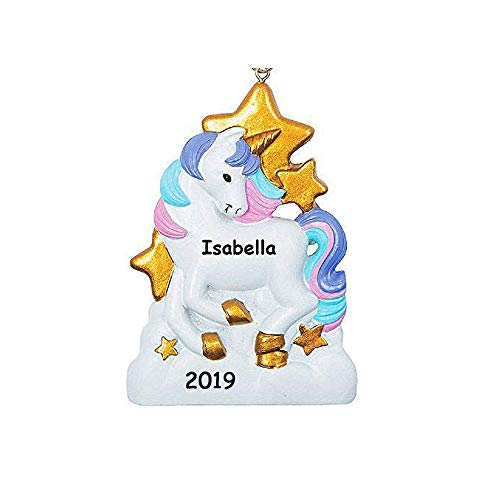 Personalized White Unicorn with Pink and Purple Hair Mane and Gold Stars Hanging Christmas Tree Ornament with Your Choice of Custom Name and -