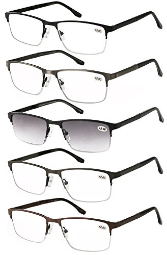 Eyecedar 5-Pack Half-frame Reading Glasses Men Rectangle Style Stainless Steel Material Metal Spring Hinges Include Sun Readers +2.50 ()