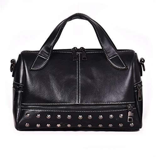 Women's Rivet Boston Bag Retro Handbag Shoulder Bag Top Handle Handbags(251-Black) (Messenger Boston Bag)