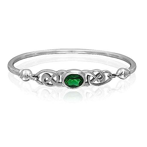 .925 Silver Simulated Emerald Glass Celtic Knot Bangle -