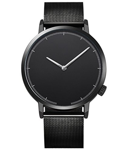 Balakie Mens Wristwatch Minimalist Design Stainless Steel Mesh Band Analog Quartz Watch-A83 Lover Travel Gift(A)