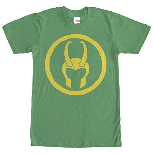Helmet Big Green T-shirt (Marvel Men's Loki Horned Helmet Kelly Green T-Shirt)