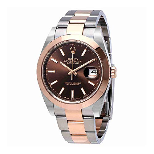 Rolex Datejust 41 Chocolate Brown Dial Steel and 18K Rose Gold Mens Watch - Gold Rose Rolex Watches