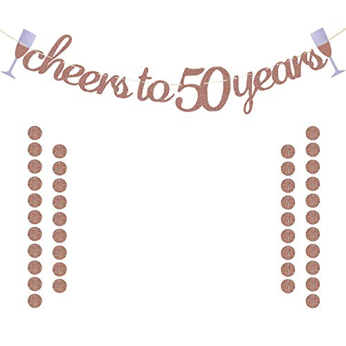 Glittery Rose Gold Cheers to 50 Years Banner for 50th Birthday Wedding Anniversary Party Decorations Supplies | Extra Rose Gold Glittery Circle Dots Garland