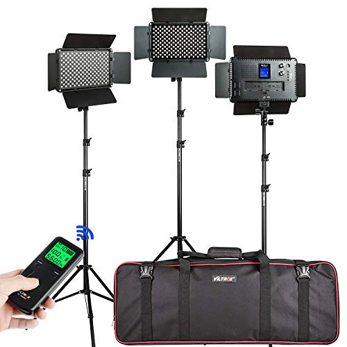 3 Pack VILTROX Bi-Color 45W/4700LM Dimmable Studio Video Light kit with 75 inch Light Stand for Portrait Wedding News Interview Photography