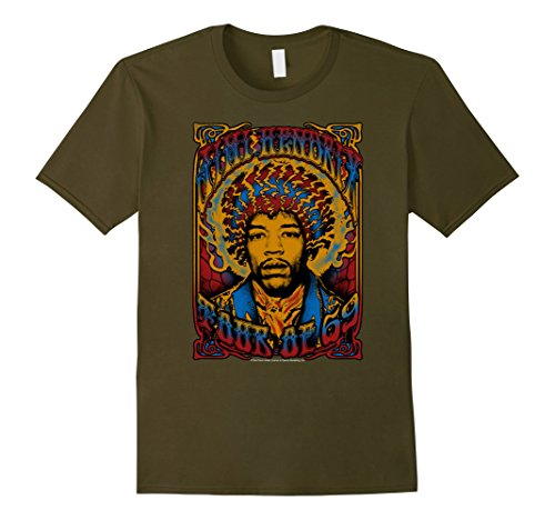 Mens Jimi Hendrix Psychedelic Electric Tour of '69 Rock T-Shirt Large Olive Jimi Hendrix Rock T-shirts