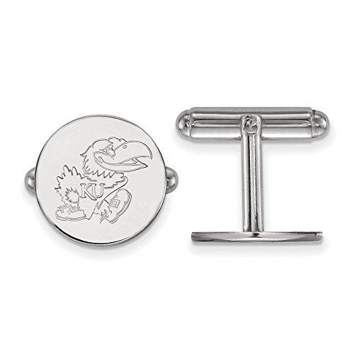Kansas Jayhawks Cufflinks (Jewelry Stores Network University of Kansas Jayhawks Cuff Link in Sterling Silver 7.20 gr)
