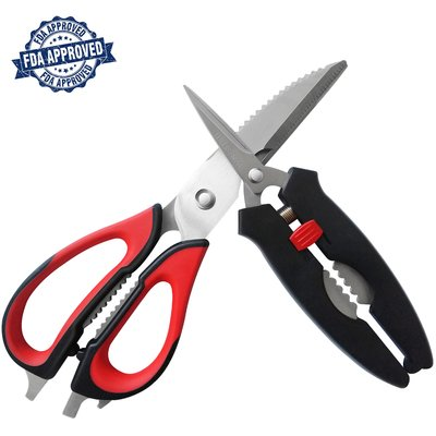 Kitchen Shears Set by Carmilo : Two Pieces Ultra Sharp Multifunctional Heavy Duty Kitchen Scissors for Chicken, Fish, Meat, Poultry, Herbs, Vegetable, BBQ, Fruit, Seafood and - 2 Piece Set Fish