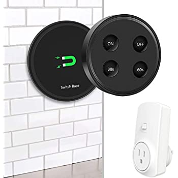 Didikit Garbage Disposal Wireless Switch Kit, Remote Control Outlet with Timer Switch, Sink Top Waste Disposal On/Off Switch Button for Insinkerator, Waste King Waste Food Disposer, 16A/1800W, Black