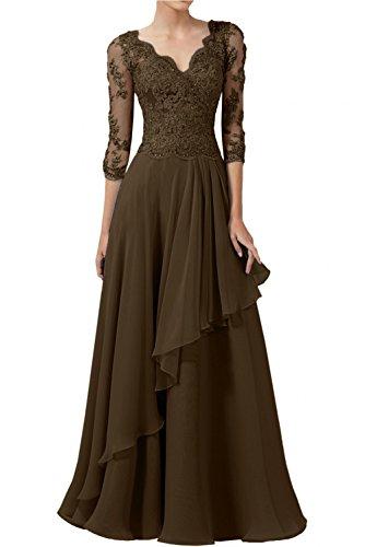 Lang A Abendkleider Rock Elegant Damen Brautmutterkleider Linie Spitze Chiffon Charmant Braun Weiss Schwarz Sqw4x6C
