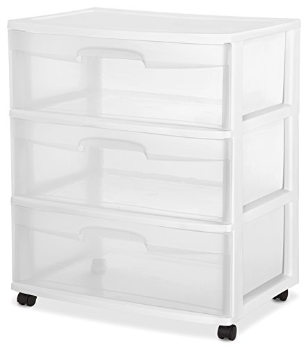 2 Pack Sterilite 3 Wide Drawer Storage Cart Container w/Casters for Mobility (Sterilite Cart Craft)
