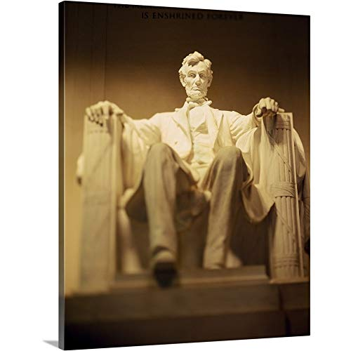 GREATBIGCANVAS Gallery-Wrapped Canvas Entitled Statue of Abraham Lincoln Illuminated at Night, Lincoln Memorial, Washington DC by 38
