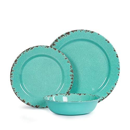 12pcs Melamine Dinnerware set for 4, Outdoor Use Dinner Plates and Bowls Set for Camping, Unbreakable, Turquoise -