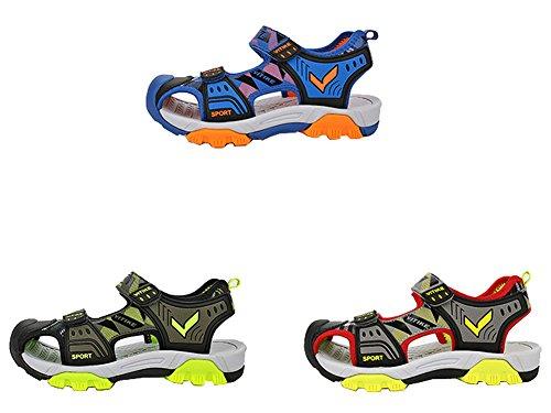 VECJUNIA Boys Adventurous Closed Toe Hook-and-Loop Sport Sandals Olive 5 M US Big Kid by VECJUNIA (Image #7)