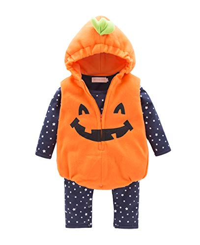 May's Infant Toddler Halloween Baby Kids Cute Pumpkin Costume Polar Fleece Comfy Jumpsuit Orange/Black