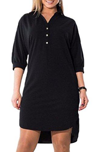 Noir La Zonsaoja Femmes Haut Taille Chemise Bas Et Des Bureau Tunique Robe Clubwear xB4nxw7Z