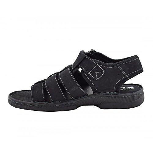 Sandalia Piel Benavente Negro Negro Beige Costuras 4A6Ux0C