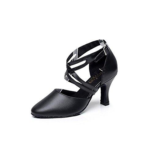 de Hebilla Red para Sandalia Color Tamaño amp; Black Performance Profesional bajo Zapatos Tacón Party XUE de Baile de Interior Latinos Zapatos de Un Cuero Mujer 39 Evening UN HdqYAvn5