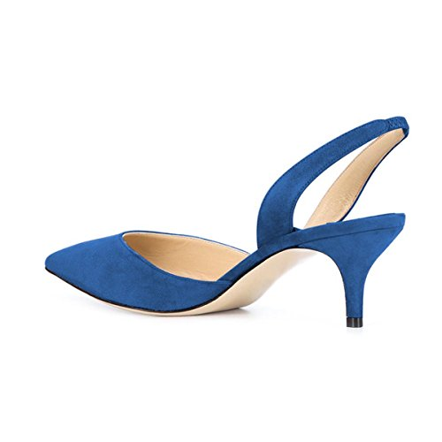 Heels Suede Blue Toe Pumps Low Formal Kitten Pointy with Slingback Sandals YDN Women's D'Orsay xRwXUq8A