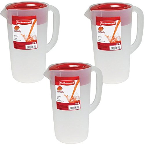 - Rubbermaid SYNCHKG097314 644766082384 Pitcher 2.25 qt-White with Red Cover (3-Pack)