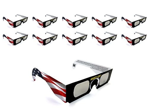Solar Eclipse Glasses ISO certified for adults and kids. Paper optics for direct viewing of the American solar eclipse 2017 limited edition (10 - Usa Manufacturer Sunglasses