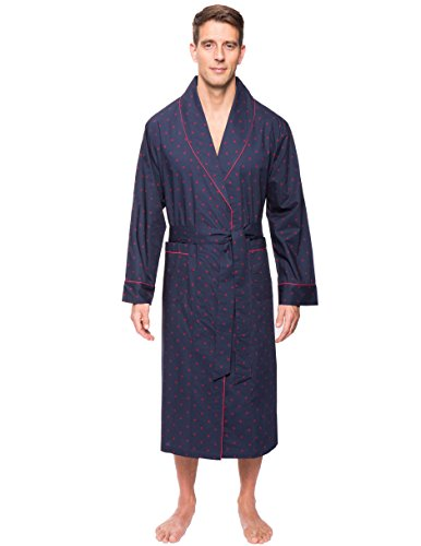 Noble Mount Men's 100% Premium Cotton Robe - Diamond Checks Black/Red - (Dressing Gown Men)