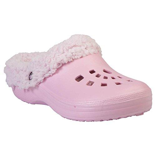 Dawgs Womens Fleece Indoor Outdoor Fluffy Clogs Slippers Soft Pink Pink Fleece 10 M Us